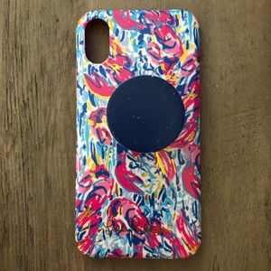Lilly Pulitzer iPhone X case with pop socket